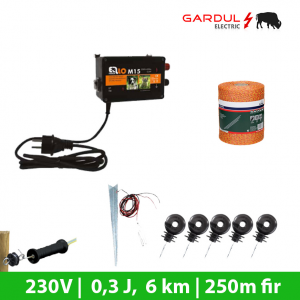 Kit gard electric, 230V - 6 km, 250m fir ECO-Kit-uri gard electric / animale