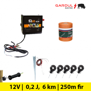 Kit gard electric, 12V - 6 km, 250m fir ECO-Kit-uri gard electric / animale
