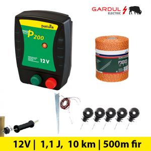 Kit gard electric P200 12V, 1.1 Jouli, 10 km, 500 m-Kit-uri gard electric / animale