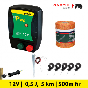 Kit gard electric P100 12V, 0.5 Jouli, 5 km, 500 m-Kit-uri gard electric / animale